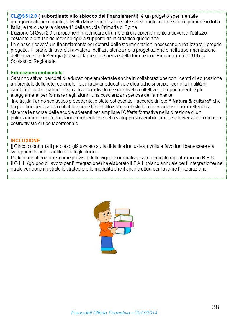 CL@SSi 2.0 ( subordinato allo sblocco dei finanziamenti) è un progetto sperimentale quinquennale per il quale, a livello Ministeriale, sono state selezionate alcune scuole primarie in tutta Italia, e tra queste la classe 1ª della scuola Primaria di Spina