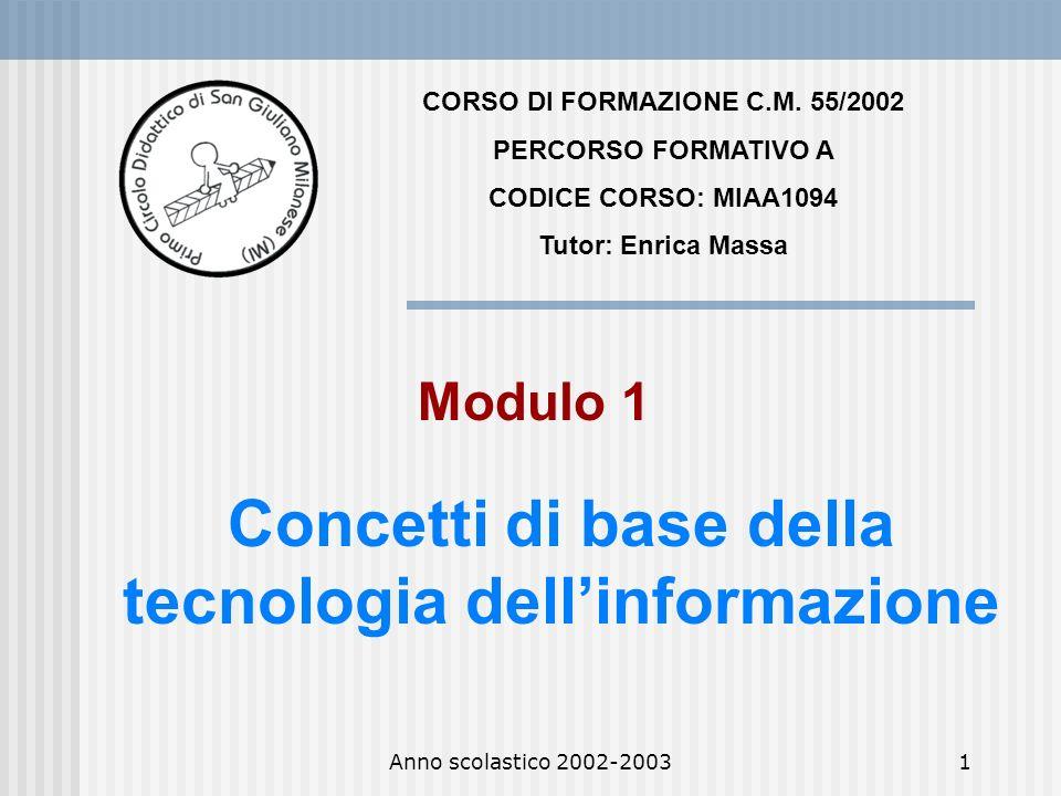 CORSO DI FORMAZIONE C.M. 55/2002 tecnologia dell'informazione