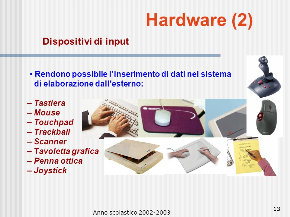 Hardware (2) Dispositivi di input