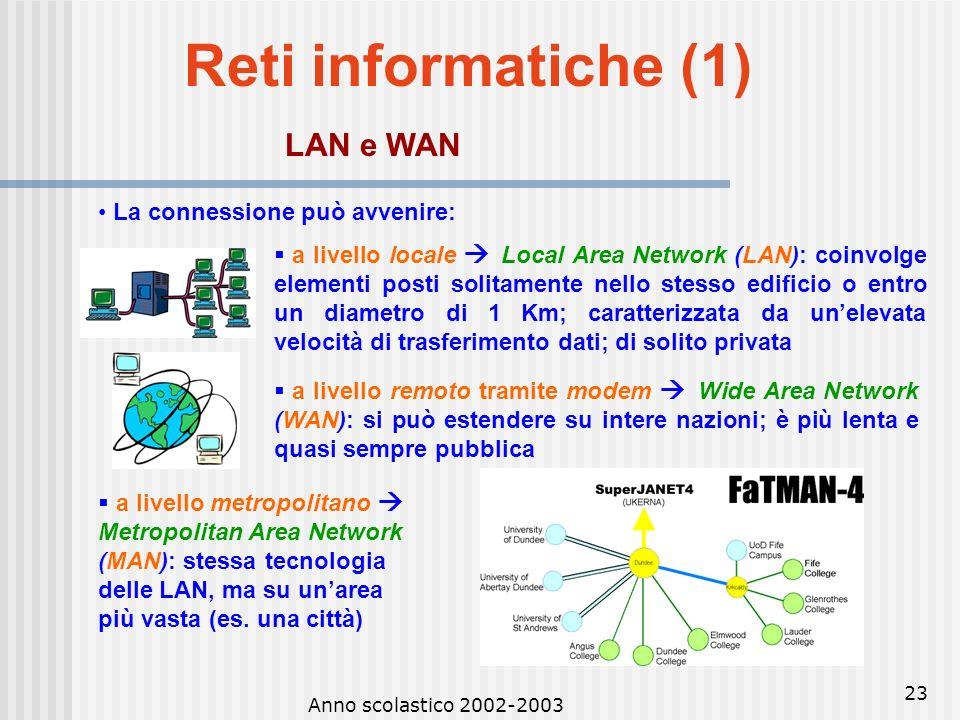 Reti informatiche (1) LAN e WAN • La connessione può avvenire:
