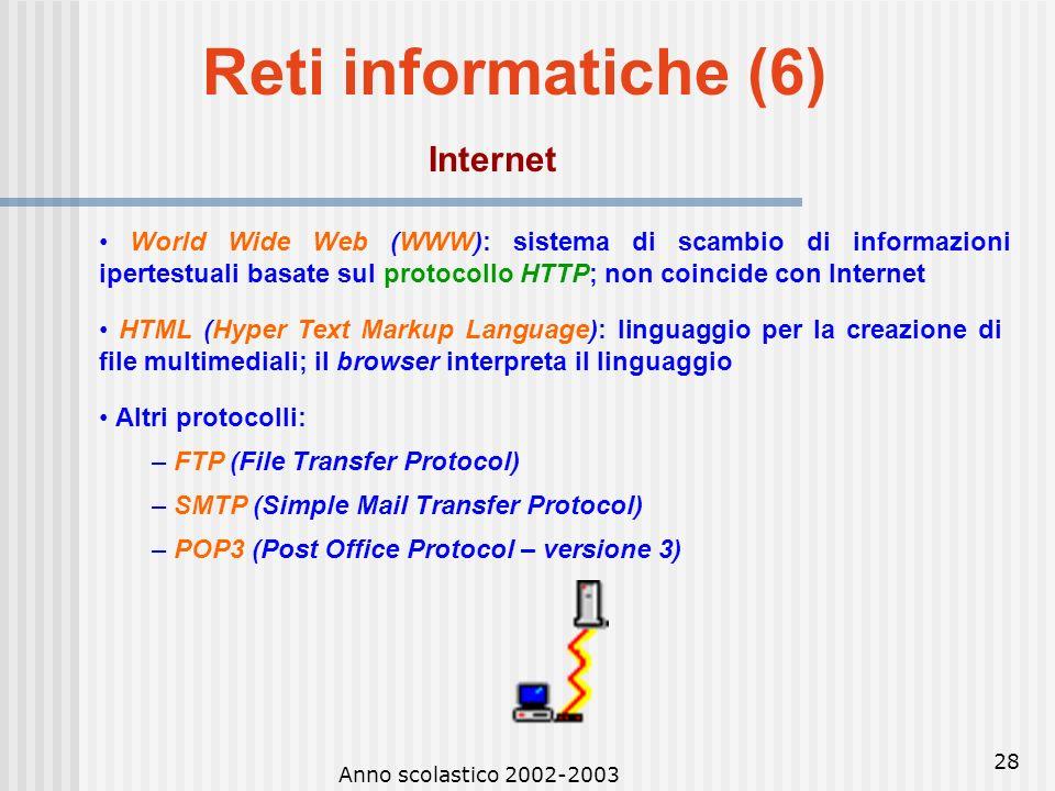 Reti informatiche (6) Internet