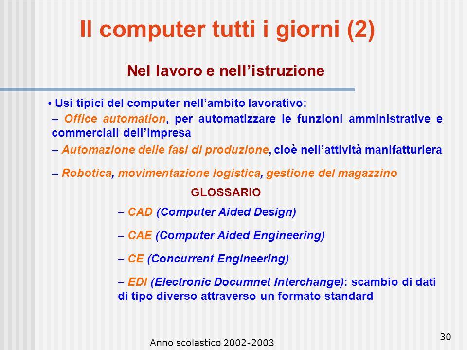 Il computer tutti i giorni (2) Nel lavoro e nell'istruzione