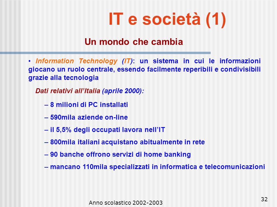 IT e società (1) Un mondo che cambia