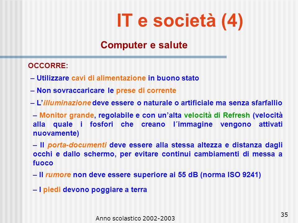 IT e società (4) Computer e salute OCCORRE: