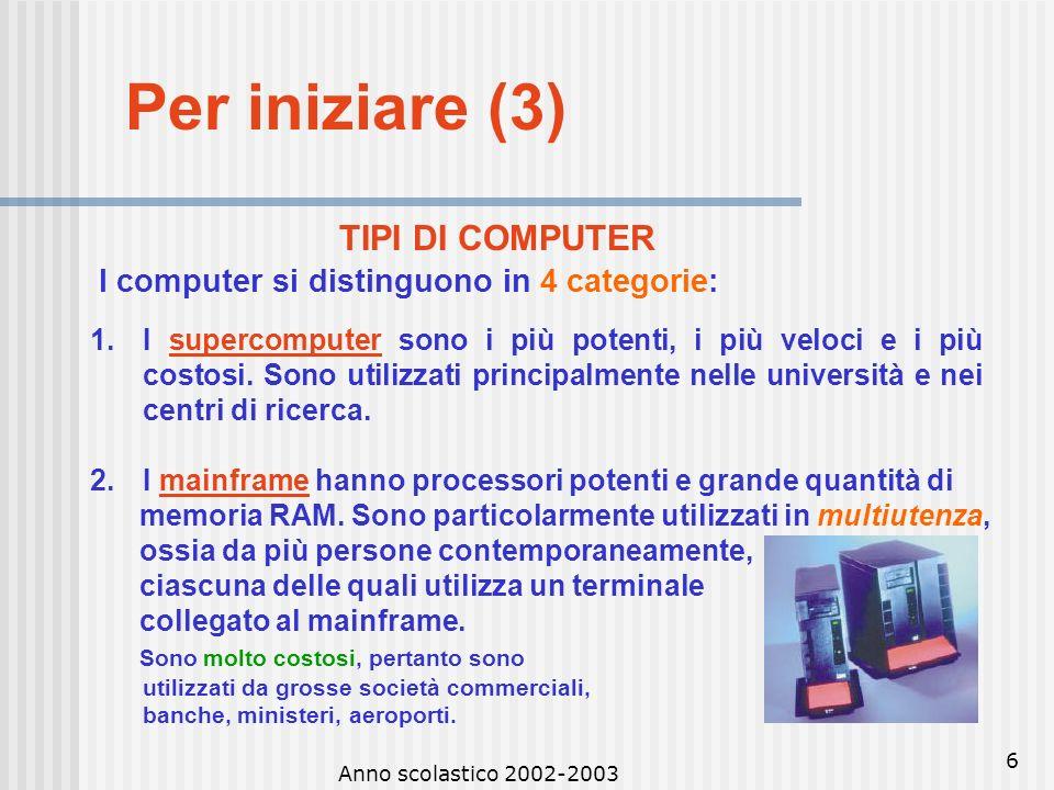 Per iniziare (3) TIPI DI COMPUTER