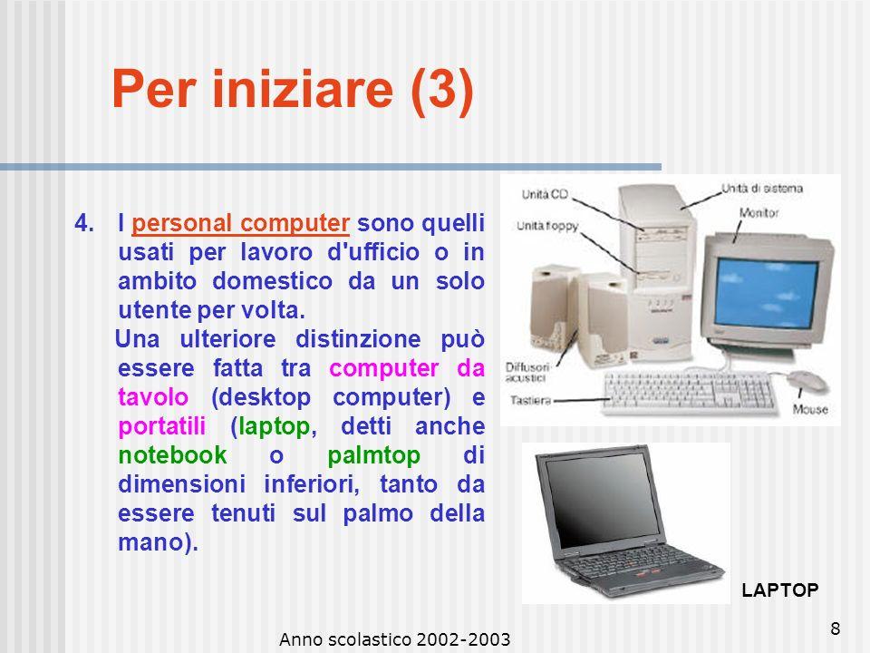 Per iniziare (3) I personal computer sono quelli usati per lavoro d ufficio o in ambito domestico da un solo utente per volta.