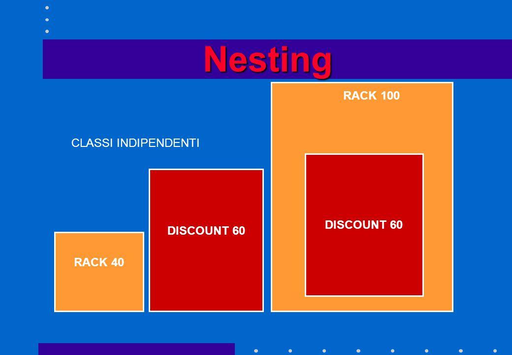 Nesting RACK 100 CLASSI INDIPENDENTI DISCOUNT 60 DISCOUNT 60