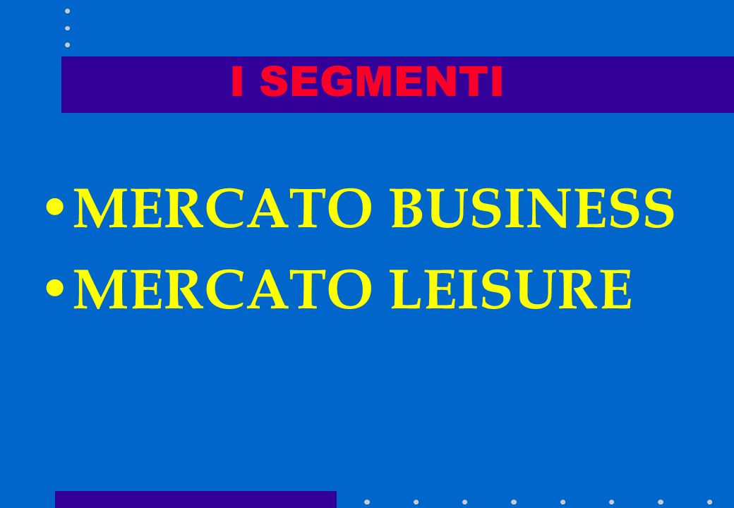 I SEGMENTI MERCATO BUSINESS MERCATO LEISURE