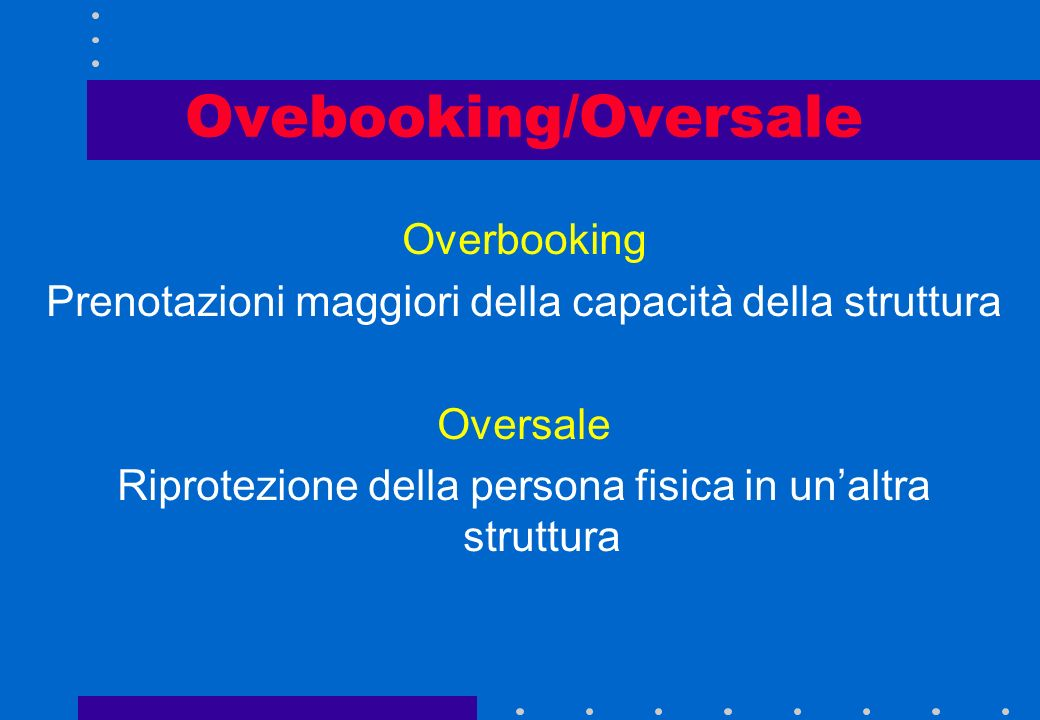 Ovebooking/Oversale Overbooking