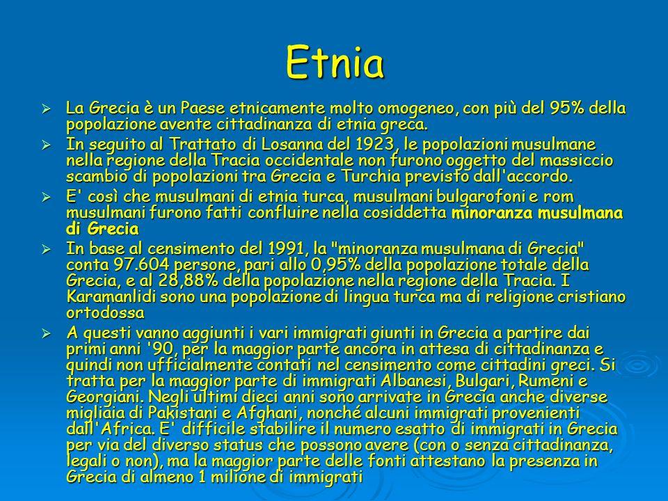 EtniaLa Grecia è un Paese etnicamente molto omogeneo, con più del 95% della popolazione avente cittadinanza di etnia greca.