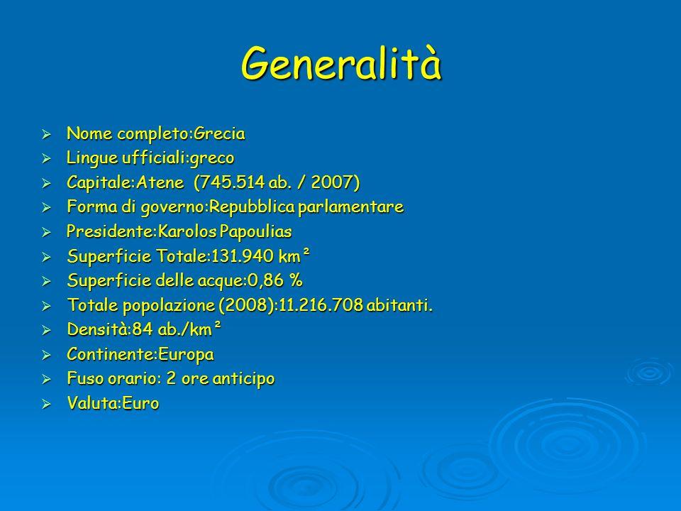 Generalità Nome completo:Grecia Lingue ufficiali:greco