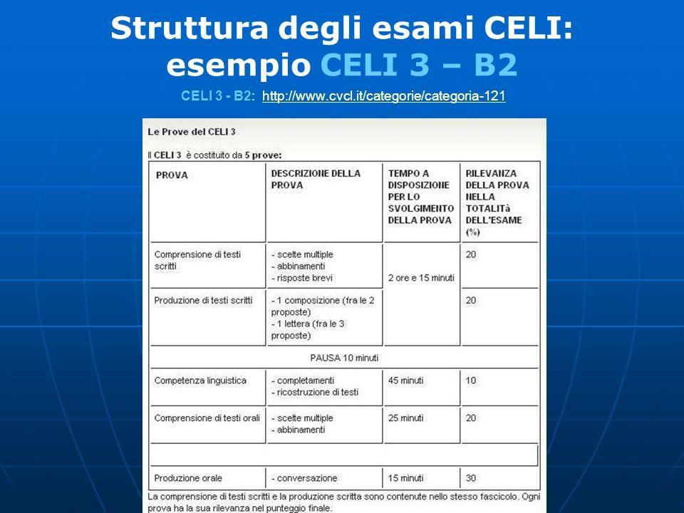 Struttura degli esami CELI: esempio CELI 3 – B2