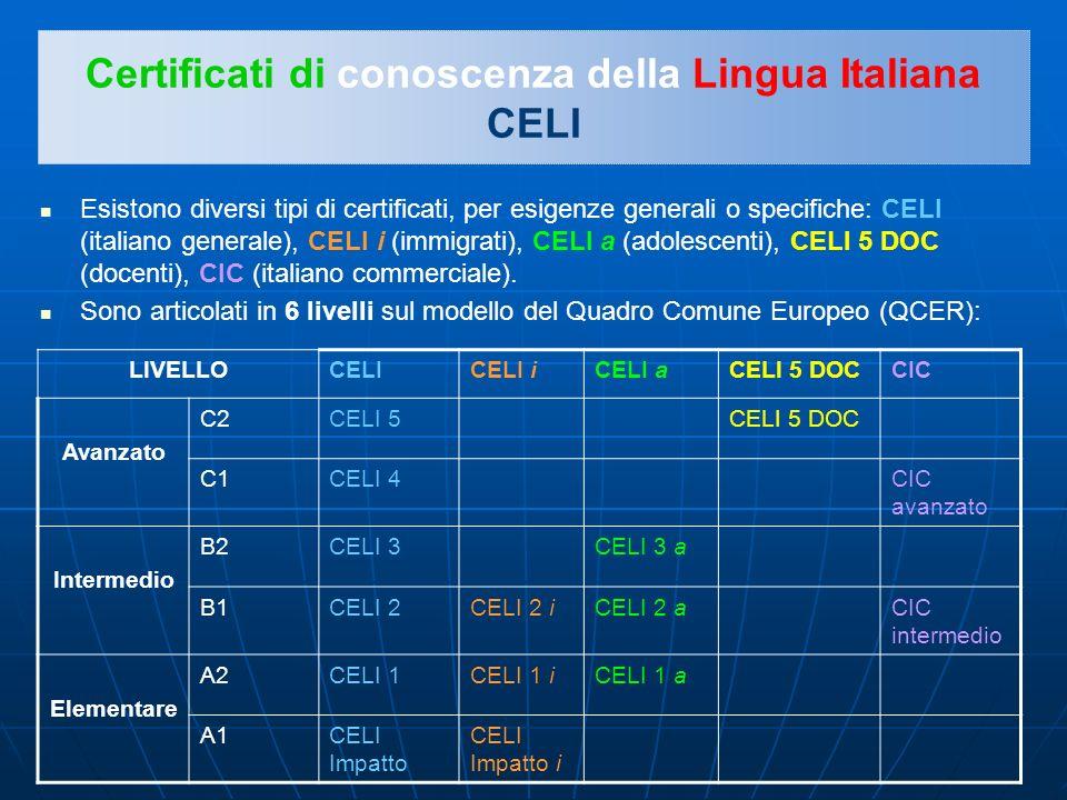 Certificati di conoscenza della Lingua Italiana CELI