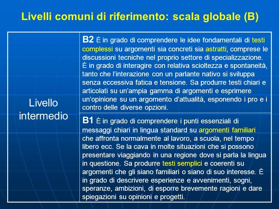 Livelli comuni di riferimento: scala globale (B)