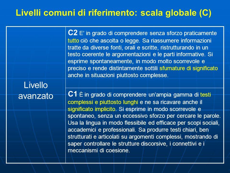 Livelli comuni di riferimento: scala globale (C)