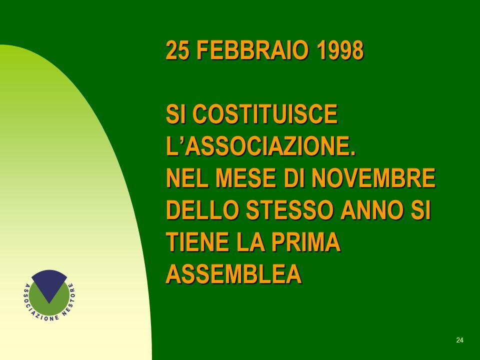 25 FEBBRAIO 1998 SI COSTITUISCE L'ASSOCIAZIONE
