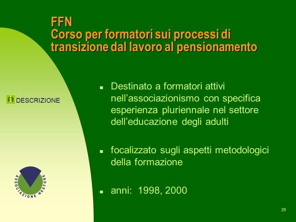 FFN Corso per formatori sui processi di transizione dal lavoro al pensionamento