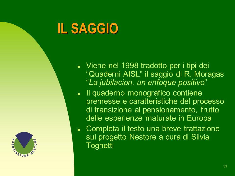 IL SAGGIO Viene nel 1998 tradotto per i tipi dei Quaderni AISL il saggio di R. Moragas La jubilacion, un enfoque positivo