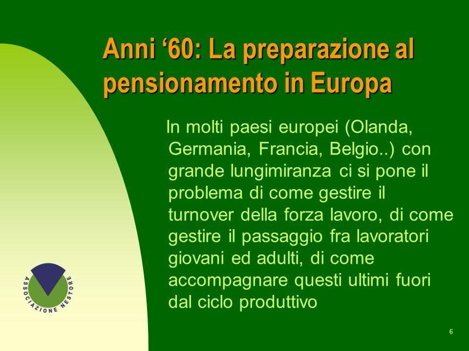 Anni '60: La preparazione al pensionamento in Europa