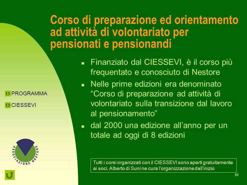Corso di preparazione ed orientamento ad attività di volontariato per pensionati e pensionandi