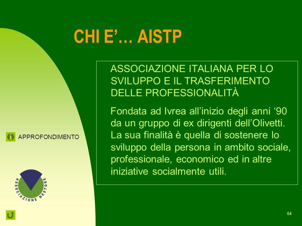 CHI E'… AISTP ASSOCIAZIONE ITALIANA PER LO SVILUPPO E IL TRASFERIMENTO DELLE PROFESSIONALITÀ.