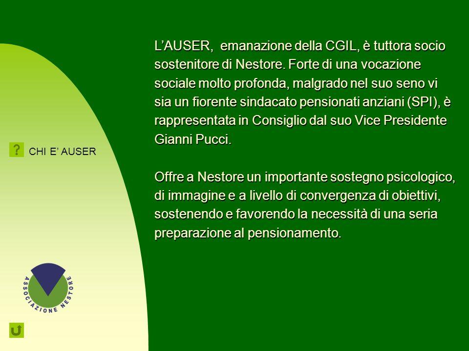 L'AUSER, emanazione della CGIL, è tuttora socio sostenitore di Nestore