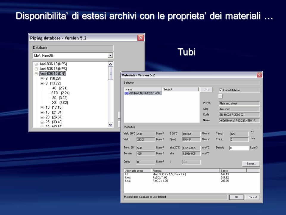 Disponibilita' di estesi archivi con le proprieta' dei materiali …