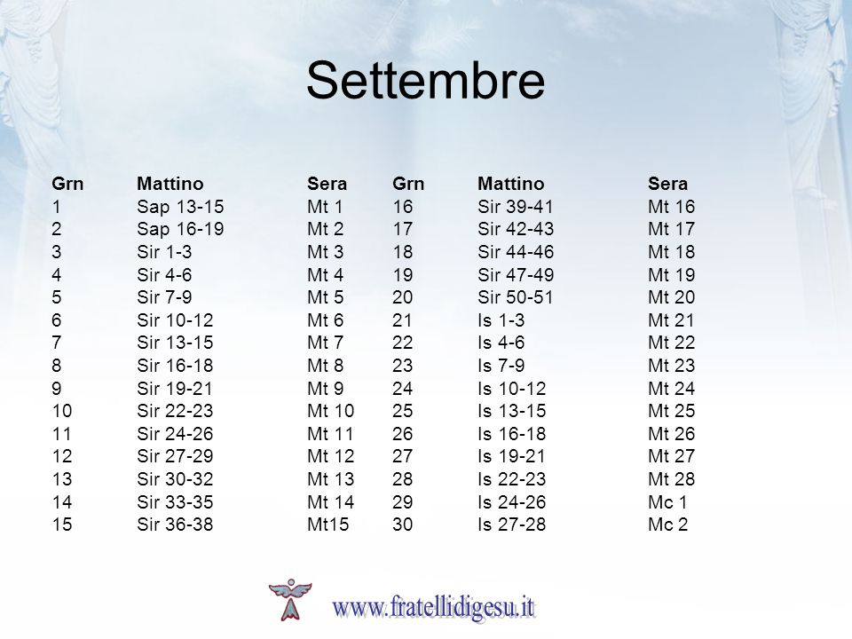 Settembre www.fratellidigesu.it Grn Mattino Sera Grn Mattino Sera