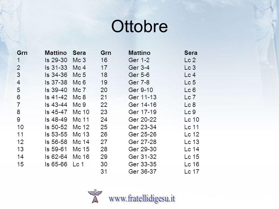Ottobre www.fratellidigesu.it Grn Mattino Sera Grn Mattino Sera