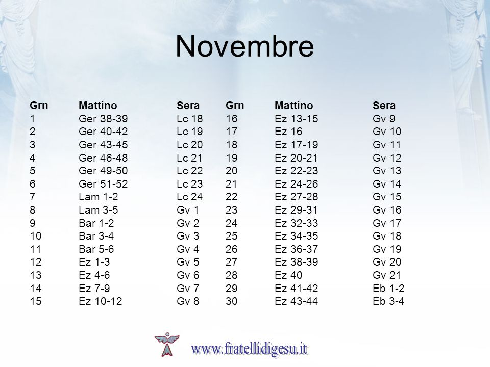 Novembre www.fratellidigesu.it Grn Mattino Sera Grn Mattino Sera