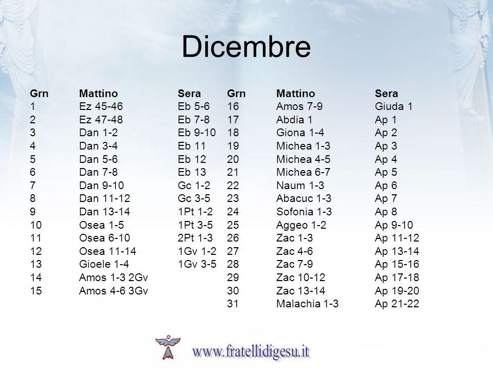Dicembre www.fratellidigesu.it Grn Mattino Sera Grn Mattino Sera