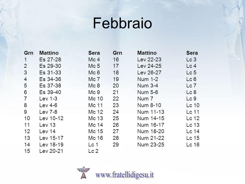 Febbraio www.fratellidigesu.it Grn Mattino Sera Grn Mattino Sera