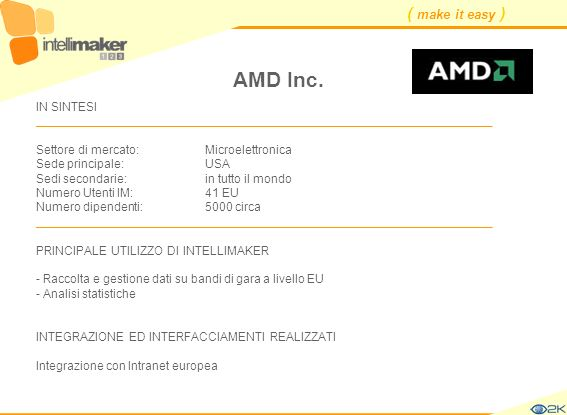AMD Inc. IN SINTESI ____________________________________________________________________. Settore di mercato: Microelettronica.