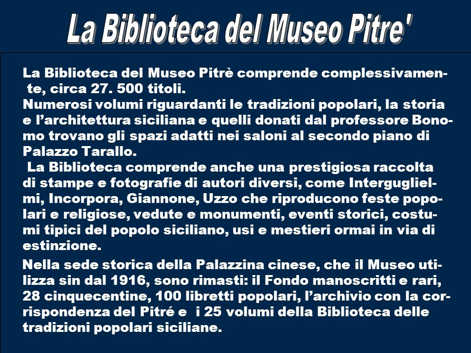 La Biblioteca del Museo Pitre