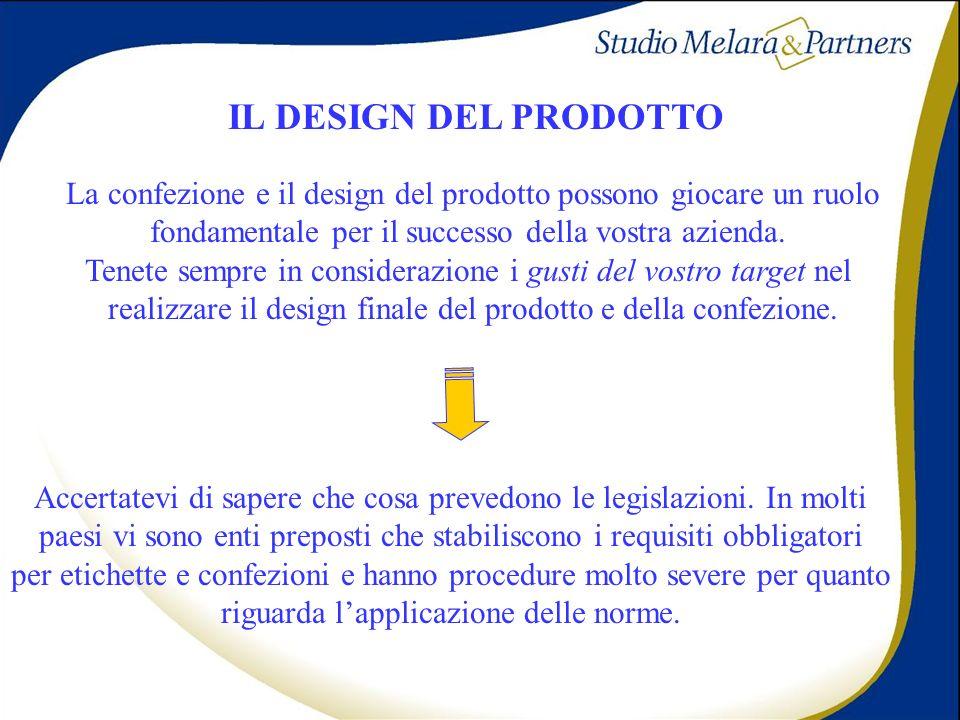 IL DESIGN DEL PRODOTTO La confezione e il design del prodotto possono giocare un ruolo. fondamentale per il successo della vostra azienda.