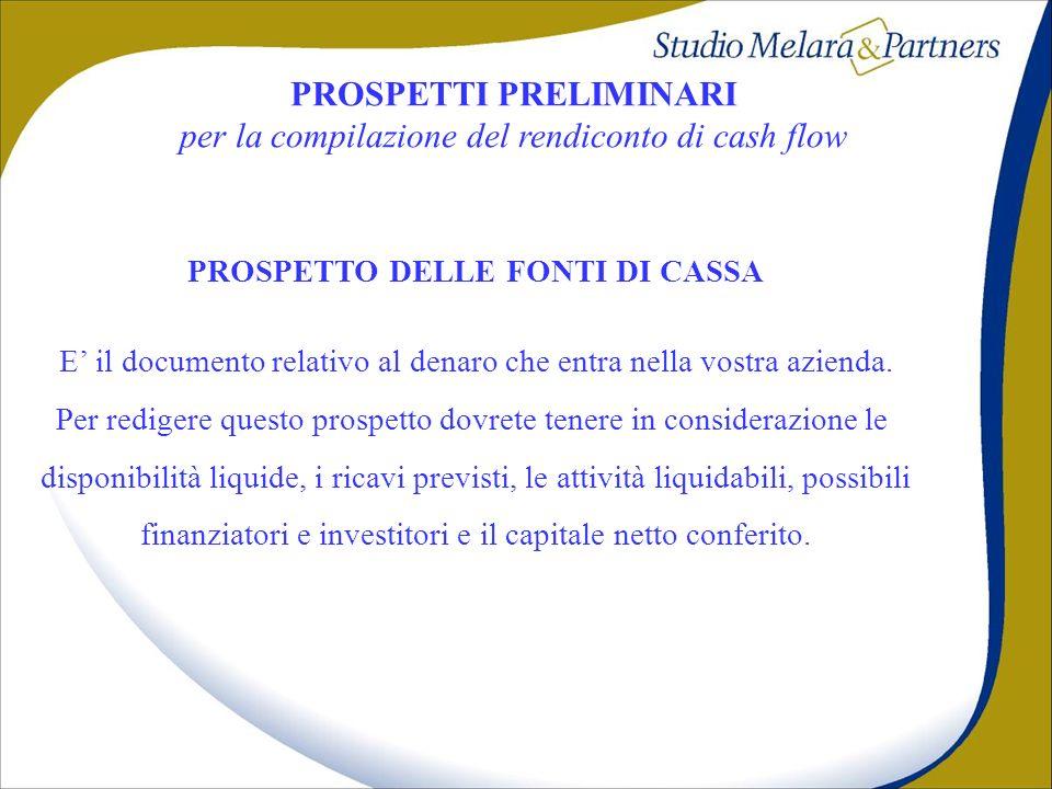 PROSPETTI PRELIMINARI PROSPETTO DELLE FONTI DI CASSA
