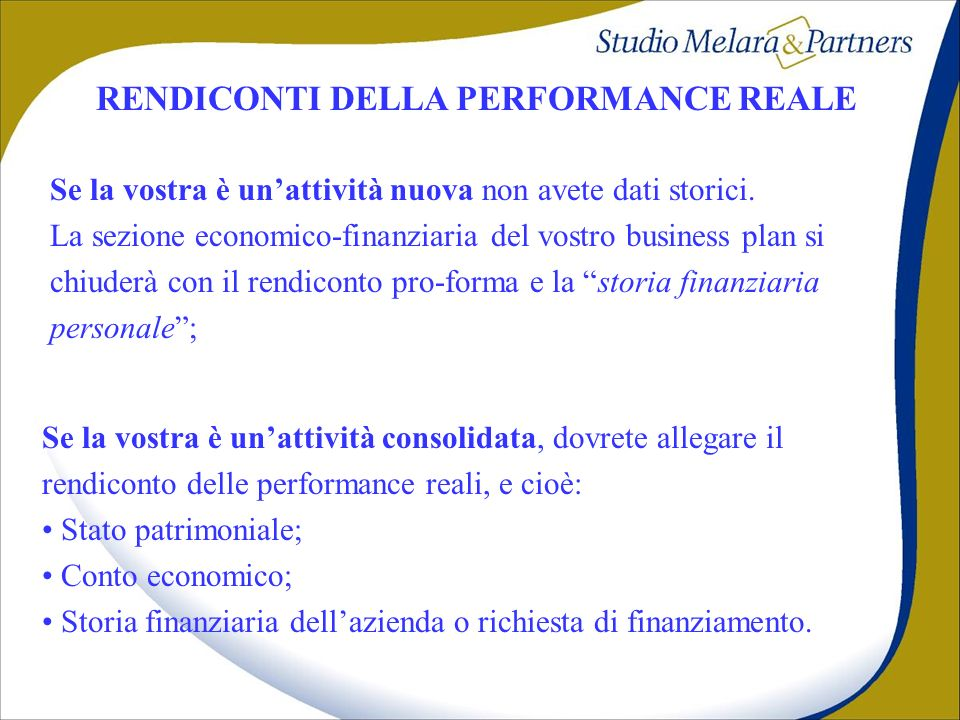 RENDICONTI DELLA PERFORMANCE REALE