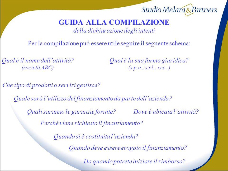 GUIDA ALLA COMPILAZIONE della dichiarazione degli intenti