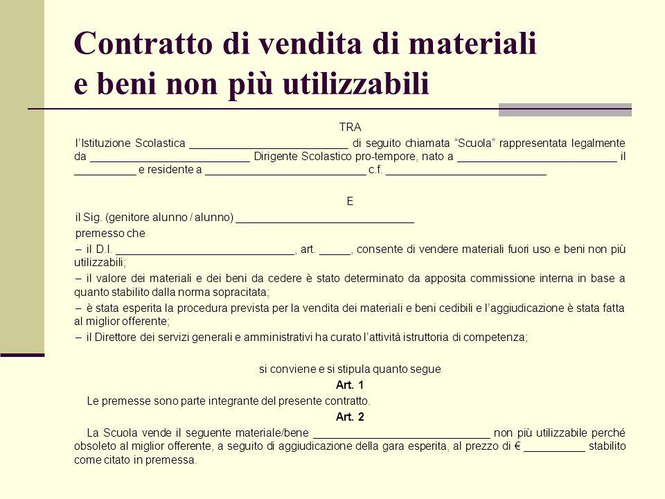 Contratto di vendita di materiali e beni non più utilizzabili