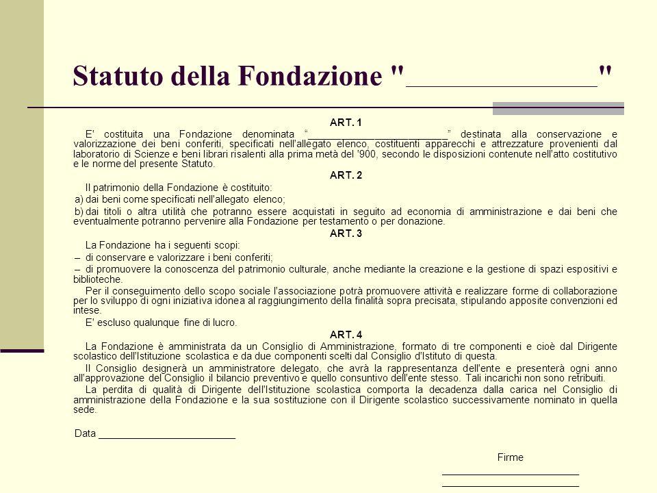 Statuto della Fondazione ___________________________________