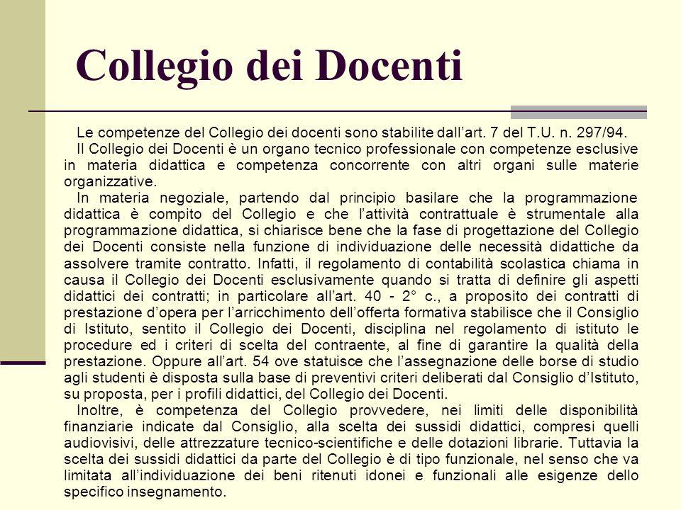 Collegio dei Docenti Le competenze del Collegio dei docenti sono stabilite dall'art. 7 del T.U. n. 297/94.