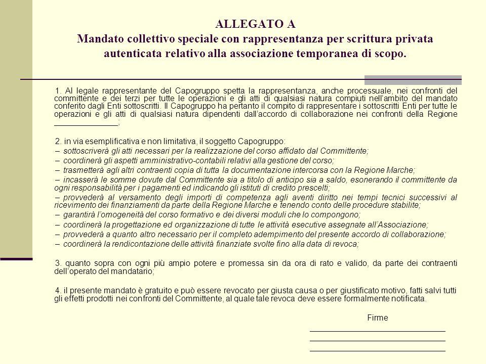 ALLEGATO A Mandato collettivo speciale con rappresentanza per scrittura privata autenticata relativo alla associazione temporanea di scopo.