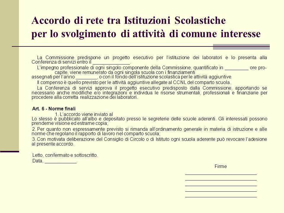 Accordo di rete tra Istituzioni Scolastiche per lo svolgimento di attività di comune interesse