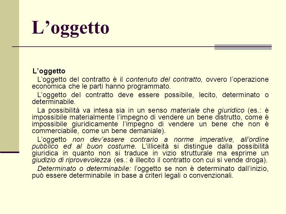 L'oggetto L'oggetto. L'oggetto del contratto è il contenuto del contratto, ovvero l'operazione economica che le parti hanno programmato.