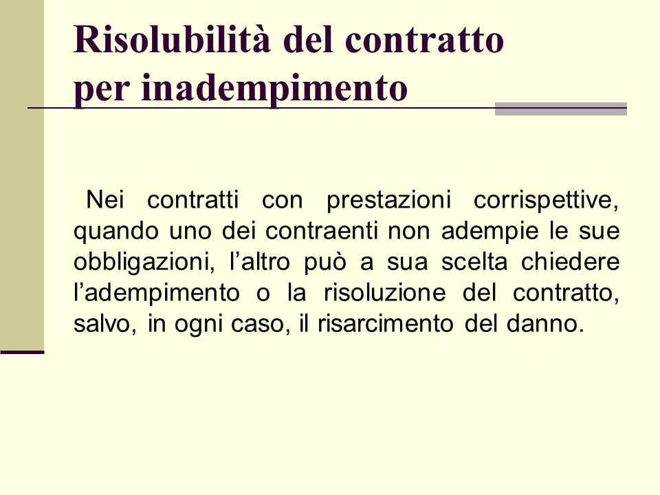 Risolubilità del contratto per inadempimento