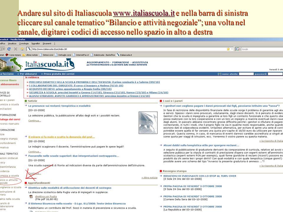 Andare sul sito di Italiascuola www. italiascuola