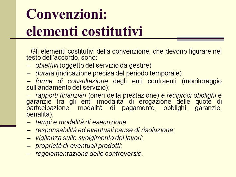 Convenzioni: elementi costitutivi