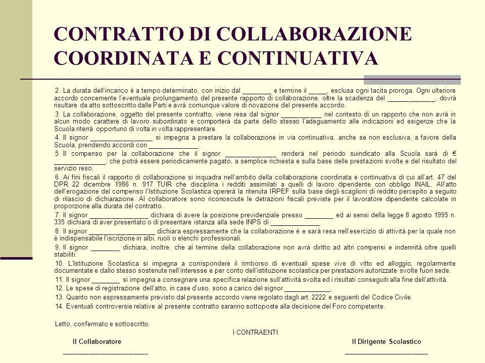 CONTRATTO DI COLLABORAZIONE COORDINATA E CONTINUATIVA
