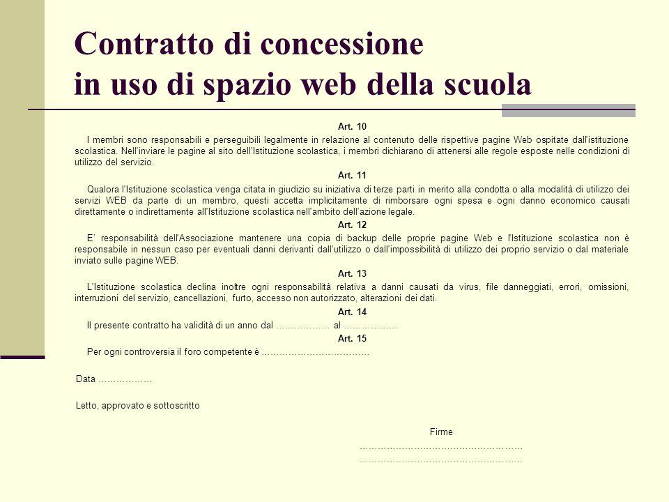 Contratto di concessione in uso di spazio web della scuola