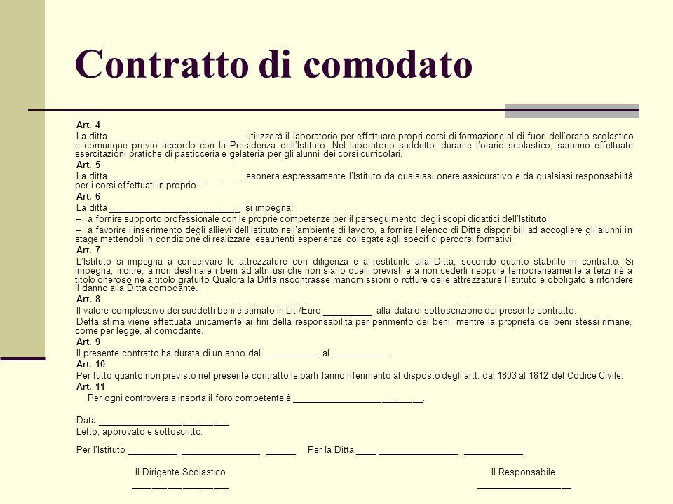 Contratto di comodato Art. 4